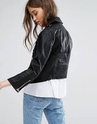 miss selfridge miss selfridge cropped leather look jacket women black