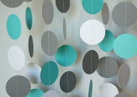 Turquoise Baby Shower Decorations Teal Gray White Circle Paper Garland Teal Gray Baby