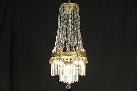 brass crystal prisms antique 1910 chandelier