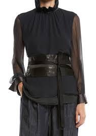 brunello cucinelli tie front leather corset belt w monili trim