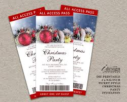 Invitation Ticket Template Printable Christmas Holiday Party Ticket Invitations Personalized 53