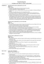 Research Resume Samples Institutional Research Analyst Resume Samples Velvet Jobs
