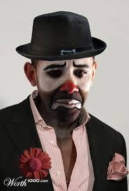 happy male clown makeup