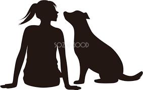 人と犬のシルエットのおしゃれ無料イラスト81790 素材good