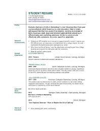 Resume Sample Student Musiccityspiritsandcocktail Com