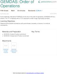 Order Of Operations Worksheet Enchanting GEMDAS Order Of Operations Lesson Plan Education