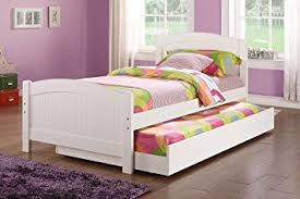 Amazon Twin bed w Trundle in White Color Pine Wood by Poundex