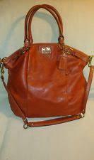 COACH Madison Leather Lindsey Satchel Bag Purse Terracotta Orange 18641