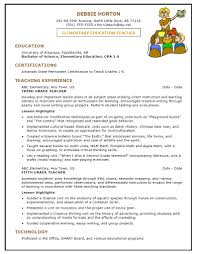 Elementary Education Resume Template Berkberglauf Verbandcom