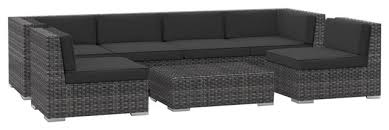 Oahu Outdoor Patio Furniture Sofa Sectional 7 Piece Set