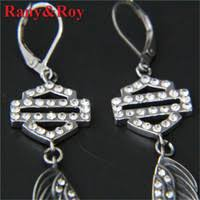 whole clean snless steel jewelry 3pairs biker style angle wings clean crystal earrings