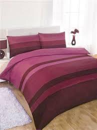 double duvet set aubergine plum pink striped double size quilt cover bed set