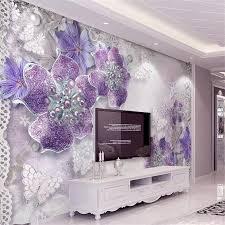 Beibehang Nach Foto Tapete 3d Lila Schmuck Blume Tv Hintergrund Wand