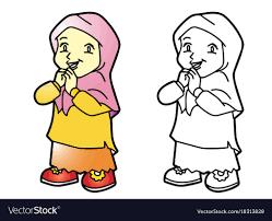 Coloring Melayu Muslim Girl Royalty Free Vector Image