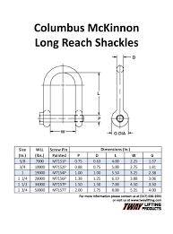 Cm Shackle Chart Cm Long Reach Shackles