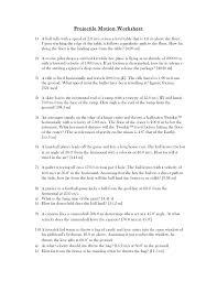 Projectile Motion Worksheet | Homeschooldressage.com