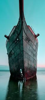 bh29-boat-ship-sea-blue-art-old-wallpaper