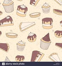 Hand Drawn Vector Pastry Seamless Pattern With Cake And Pie Pieces