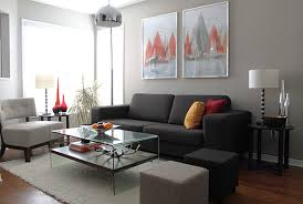 Living Room:Minimalist Living Room Design With Grey Sectional Sofa On Grey  Carpet Interior Living