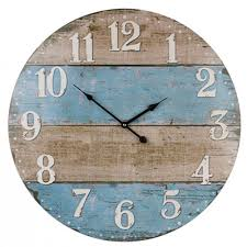 large round 58cm brown blue stripe rustic wall clock captivating clocks 22