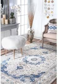 vintage pattern area rug nuloom verona blue 6 ft 7 in x 9 ft oriental carpet 2 2 of 6