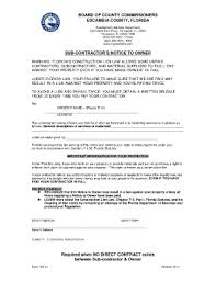 notice to owner form florida notice to owner escambia florida fill online printable fillable