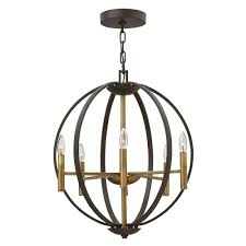 decorative 6 light globe frame chandelier in bronze