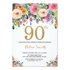 Birthday Invatations Floral 90th Birthday Invitation Gold Glitter