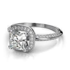 hunter rae princess cut halo diamond engagement ring in 14k white