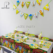 Jungle Theme Birthday Invitations Us 11 8 15 Off For 8kids 50pcs Jungle Safari Animals Theme Birthday Party Supplie Tableware Set Plate Straw Glass Tablecover Invitations Ect In