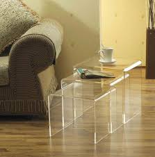 Individual Chairs For Living Room 3pc Modern Acrylic Nesting End Table Three Individual Tables Clear