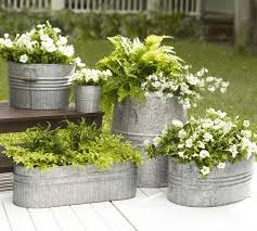 Beautiful Galvanized Metal Flower And Fern Planters