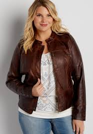 plus size faux leather scuba jacket with knit sides and quilted stitching