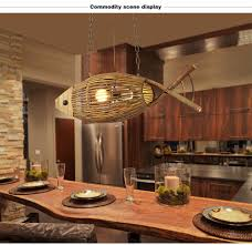 Pendant Lighting Living Room Creative Hand Crafted Bamboo Fish Led E27 Pendant Lights For