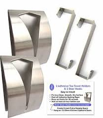 Stainless Steel Self Adhesive Sticky 2 Tea Towel Grabber Holder
