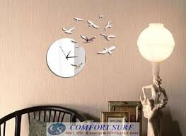 bird design diy creative interior decoration framelss mirror wall acrylic clock