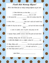 Nursery Rhymes Printable Baby Shower Game  Party Ideas Baby Shower Games Nursery Rhymes