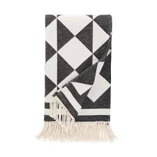 Black And White Geometric Throw Blanket