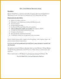 Medical Records Clerk Job Description For Resume