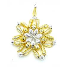 Gablonzer Christbaumschmuck Blüte Goldsilber 11 Cm