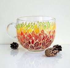 Fall leaf big painted mug gift for <b>nature</b> lover | Стекло, Чашка, Декор