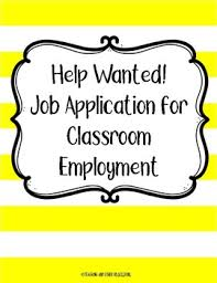 Help With Job Application Classroom Job Application And With Help Wanted Posters Tpt