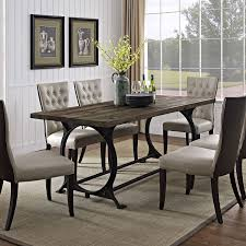table charming iron pedestal table 17 farmhouse dining set metal and gl chairs reclaimed wood extension