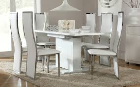 osaka white high gloss extending dining table and 6 chairs set chic extending dining room table