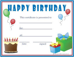 Happy Birthday Blank Gift Certificate Aesthetecurator Com