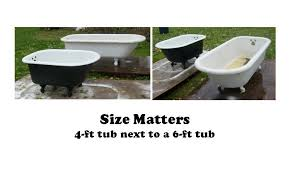 clawfoots come in sizes ranging from 4 feet long to 6 feet long the most common size is 5 ft long the length of a standard modern bathtub