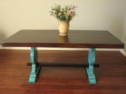 European Paint Finishes Rustic Turquoise Trestle Table Small U