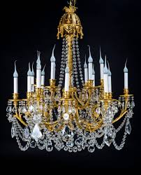 a superb antique french louis xvi style gilt bronze and cut crystal triple tier multi