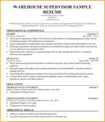Warehouse Supervisor Resume Kordurmoorddinerco Interesting Warehouse Supervisor Resume