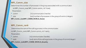 mpi comm size message passing interface mpi a means of machine communication